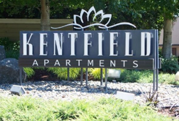 Exterior photo of the Kentfield Apartments sign