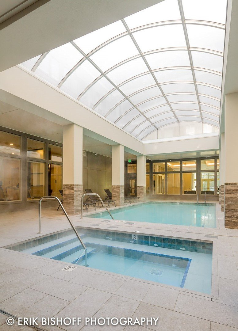 Photo of the indoor pool at Orchard Crossing Campus Apartments